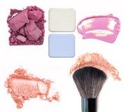makeup Σύνολο σύνθεσης κολάζ σκιές ματιών, ίδρυμα που απομονώνεται σε ένα άσπρο υπόβαθρο Στοκ Εικόνα