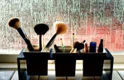 Makeup. Different makeup in a bathroom Royalty Free Stock Photo