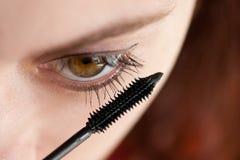 Makeup. Woman applying makeup with brush Stock Photos