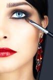Κινηματογράφηση σε πρώτο πλάνο που πυροβολείται του ματιού γυναικών makeup Στοκ Εικόνες