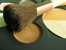 Makeup. Brush and makeup (eyeshadows and powder stock image