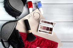 Makeup accessories and lingerie Royalty Free Stock Photo