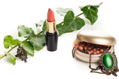 Makeup accessories with necklace Stock Photography