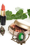 Makeup accessories with necklace Royalty Free Stock Photography
