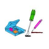 Makeup accessories set. Brush, powder, lipstick, eye pencil, nai Stock Image