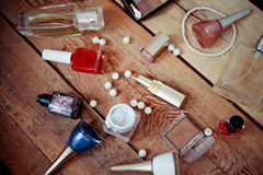 Makeup accessories on wooden Royalty Free Stock Image