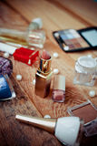Makeup accessories on wooden Stock Photos