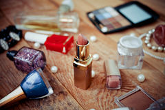 Makeup accessories on wooden Royalty Free Stock Photography