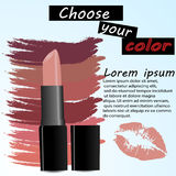 Makeup ads template, Charming red lipstick Stock Photography