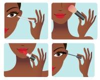 Makeup application process royalty free illustration