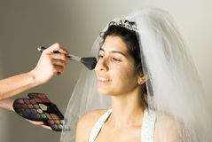 Makeup Application to Bride - horizontal Stock Photography