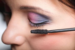 Makeup. Applying Mascara. Long Eyelashes Royalty Free Stock Images
