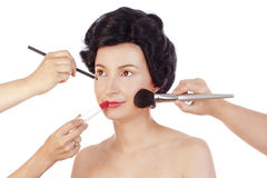 Makeup Arists Preparing Model for Photo Shoot Royalty Free Stock Photo