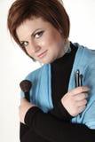 Makeup artist. Posing in studio Royalty Free Stock Photography