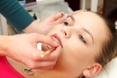 Makeup Artist And The Model Royalty Free Stock Photos