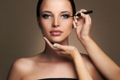 Makeup artist applies eye shadow. Beautiful woman. beauty girl with Perfect make-up Stock Images