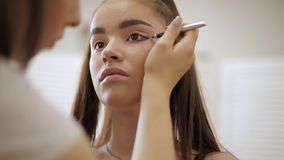 Makeup artist applies eye shadow, perfect evening makeup. Beauty redhead girl with perfect skin and freckles.  stock video footage