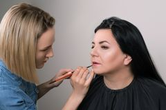 Makeup artist applies lipstick. Beautiful mature woman at beauty salon. Makeup artist doing makeup for charming woman. Happy senio royalty free stock photo