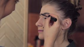 Makeup artist apply makeup on model brow stock footage