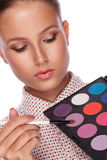 Makeup artist applying blusher Royalty Free Stock Image