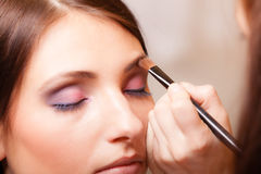 Makeup artist applying with brush cosmetic on eyebrow of woman. Female beauty. Makeup artist stylist applying with brush cosmetic on eyebrow of young woman. Girl Royalty Free Stock Photos