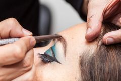 Applying makeup on eyebrows Royalty Free Stock Image