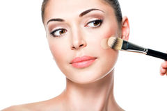 Makeup artist applying liquid tonal foundation  on the face Royalty Free Stock Images