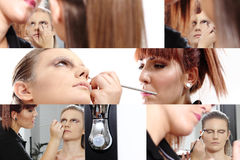 Makeup artist applying mascara on eyes of model Royalty Free Stock Photos