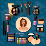 Makeup artist beautiful woman make-up cosmetics nail polish eye Royalty Free Stock Photography