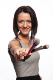Makeup artist with brushes in hand Stock Photo