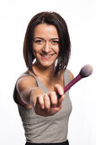 Makeup artist with brushes in hand. On a white background Royalty Free Stock Image