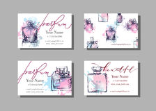 Makeup artist business card. Vector template with Beautiful perfume bottle . Fashion and beauty background. Stock Photos
