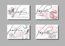Makeup artist business card. Vector template with Beautiful perfume bottle . Vector. Royalty Free Stock Photos