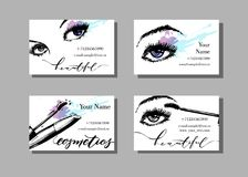 Makeup artist business card. Vector template with makeup items pattern - with beautiful female eyes and mascara. Fashion Stock Photography