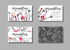 Makeup artist business card. Vector template with makeup items pattern - brush, pencil, eyeshadow, lipstick and mascara. Fashion and beauty background stock illustration