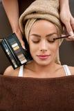 Makeup artist deals makeup brush for eyes Stock Photos