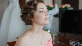 Makeup artist doing visage stock video footage
