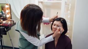 Makeup Artist Dying Eyebrows for Senior Woman. Anti Age Maquillage for Middle Aged Brunette Lady. Stylist Applying Cosmetic on Client Face. Master Creating stock video footage