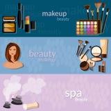 Makeup artist glamour beautiful woman face cosmetics Stock Images