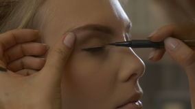 Makeup artist leads the eye stock footage