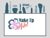 Makeup artist logo with flower Stock Images