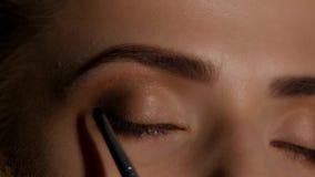 Makeup artist makes a girl beautiful makeup before an important event. Closeup stock video footage