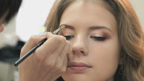 Makeup artist making make-up for a young model stock footage