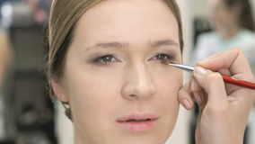 Makeup artist making make-up for young model stock footage