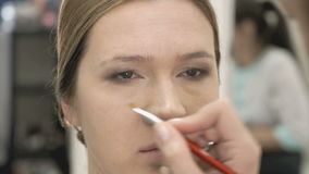 Makeup artist making make-up for young model stock video