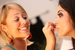 Makeup Artist and Model Stock Photo