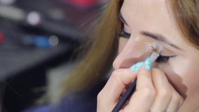 Makeup artist paints eyelashes, makes the shading of the face and eyebrows stock video