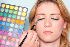 Makeup artist paints a eyes of woman. Makeup. Royalty Free Stock Image