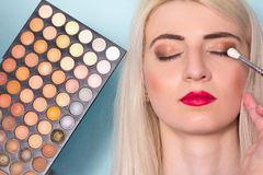 Makeup artist paints a eyes of woman. Makeup. Royalty Free Stock Photography