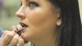 Makeup artist paints her lips women stock video
